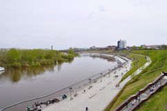 The embankment in Tyumen. Spring flood of the Tura River. Royalty Free Stock Image