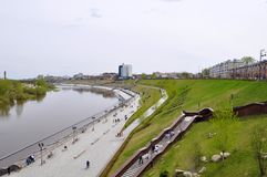 The embankment in Tyumen. Spring flood of the Tura River. Royalty Free Stock Photography