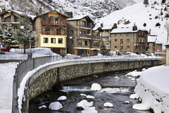 Embankment of Valira d Orient  river in la Cortinada. Andorra Royalty Free Stock Photos
