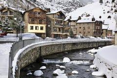 Embankment of Valira d Orient  river in la Cortinada. Andorra Royalty Free Stock Photos
