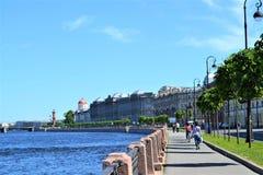 Embankment on Vasilevsky island stock photos