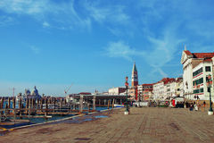Embankment Venice. View of the city and the waterfront in Venice stock image