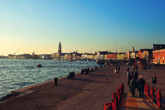 Embankment Venice. Waterfront views of Venice at sunset stock photos