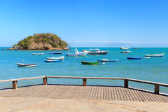 Embankment with view of Boats, yachts, sea in Armacao dos Buzios Stock Images