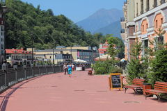 Embankment in the village of Rosa Khutor, Sochi Royalty Free Stock Photo