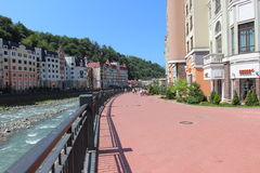 Embankment in the village of Rosa Khutor, Sochi Royalty Free Stock Photography