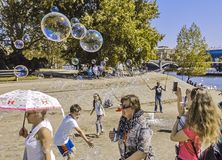 Launching soap bubbles in Prague stock photos