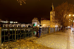 Embankment of the Vltava River near Charles Bridge, night. Prague. Czech Republic Stock Photography