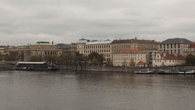 Embankment of the Vltava River in Prague Royalty Free Stock Photos