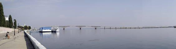 Embankment of the Volga River. Embankment and the bridge across the river - the Volga Royalty Free Stock Photo