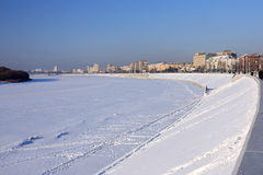 Embankment in winter. Royalty Free Stock Photography