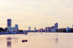 Embankment Yekaterinburg City in evening Stock Photography