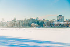 Embankment in Yekaterinburg winter on a sunny day. Embankment in Yekaterinburg winter on a day Royalty Free Stock Photo
