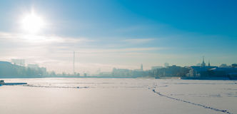 Embankment in Yekaterinburg winter on a sunny day. Embankment in Yekaterinburg winter on a day Stock Photo