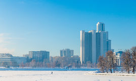 Embankment in Yekaterinburg winter on a sunny day. Embankment in Yekaterinburg on a sunny day Royalty Free Stock Images