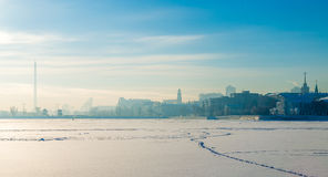 Embankment in Yekaterinburg winter on a sunny day. Embankment in Yekaterinburg winter on a day Stock Image
