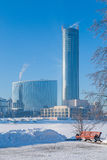 Embankment in Yekaterinburg winter on a sunny day. Embankment in Yekaterinburg on a sunny day Royalty Free Stock Photo