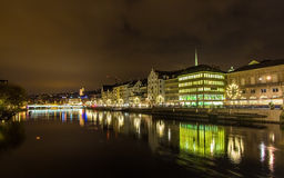 The embankment of Zurich at night Stock Photos