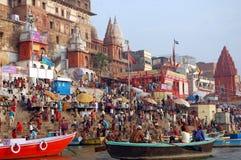 Embankments  of the Ganges, Varanasi, India Royalty Free Stock Photos