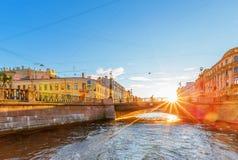 The embankments of Griboyedov Canal and Voznesensky bridge Royalty Free Stock Photography
