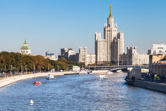 Embankments, Moskva River and tower in Moscow Stock Photo