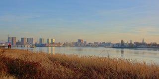 Quay of river Scheldt in Antwerp in warm sunset light royalty free stock photos