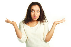 Embarassed woman royalty free stock image