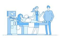 Embarazo de exploración Examen de la sonografía de la mujer embarazada Doctor del marido que mira sonogram del monitor Diagnóstic stock de ilustración