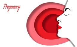 Embarazo Perfil de la mujer hermosa joven El mundo interno de la mujer durante embarazo Ilustración del vector Fotos de archivo