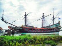 Embarcação a Batávia Lelystad do VOC, Flevoland, Países Baixos fotografia de stock