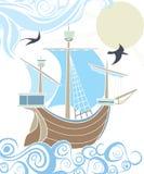 Embarcação de navigação do estêncil no mar Fotografia de Stock