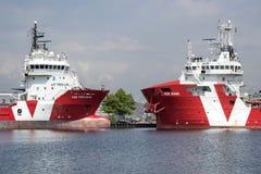 embarcação VOS da Plataforma-fonte MUITO e BRILHO da embarcação VOS do Subsea-apoio imagem de stock