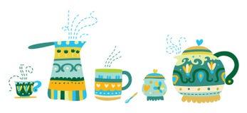 Embarcações decorativas do chá e do café Foto de Stock Royalty Free