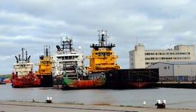 Embarcações norueguesas no porto de Aberdeen Fotografia de Stock Royalty Free