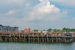 Embarcadero abandonado viejo en Boston foto de archivo