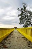 Embarcadero amarillo con el amigo dos que se sienta en el extremo Fotos de archivo libres de regalías
