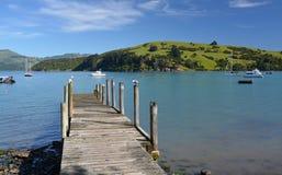 Embarcadero de Akaroa, Cantorbery Nueva Zelanda Imagenes de archivo