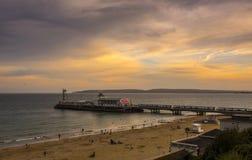 Embarcadero de Bournemouth en la puesta del sol Fotografía de archivo libre de regalías