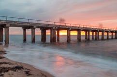 Embarcadero de Dromana en la puesta del sol Fotos de archivo