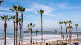 Embarcadero de la costa de California con la opinión de palmeras metrajes