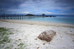 Embarcadero de la isla de Manukan, Borneo, Sabah Foto de archivo