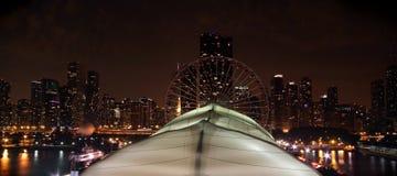 Embarcadero de la marina de Chicago en la noche Imágenes de archivo libres de regalías