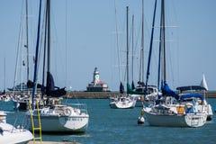 Embarcadero de la marina de guerra del faro del puerto de Chicago Imagenes de archivo
