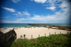Embarcadero de la playa de Deerfield Foto de archivo libre de regalías