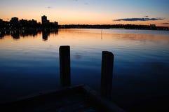 Embarcadero de la puesta del sol Imágenes de archivo libres de regalías