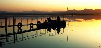 Embarcadero de la puesta del sol Fotos de archivo