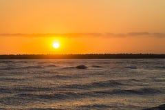 Embarcadero de la salida del sol del océano Fotos de archivo