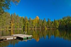 Embarcadero de la sauna al lago en Finlandia Fotos de archivo libres de regalías
