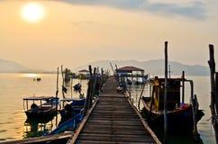 Embarcadero de los pescadores de la isla de Pangkor imagen de archivo libre de regalías