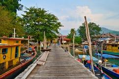 Embarcadero de los pescadores de la isla de Pangkor fotos de archivo